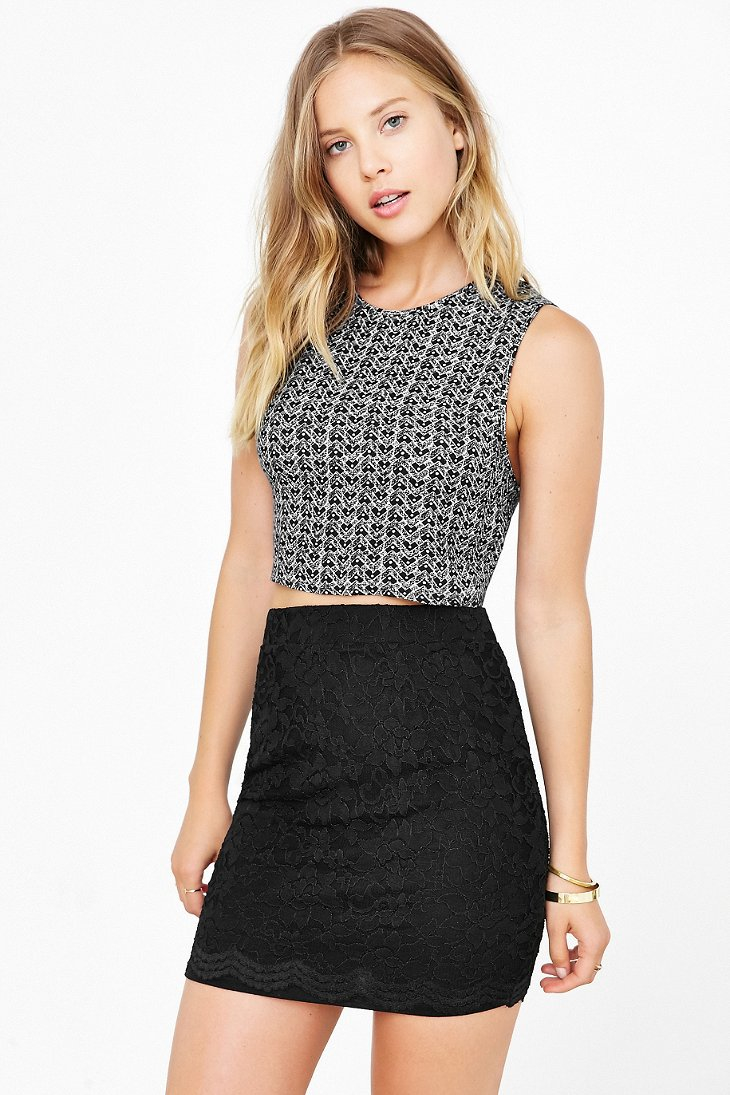 Lyst Kimchi Blue Scallop Lace Mini Skirt In Black
