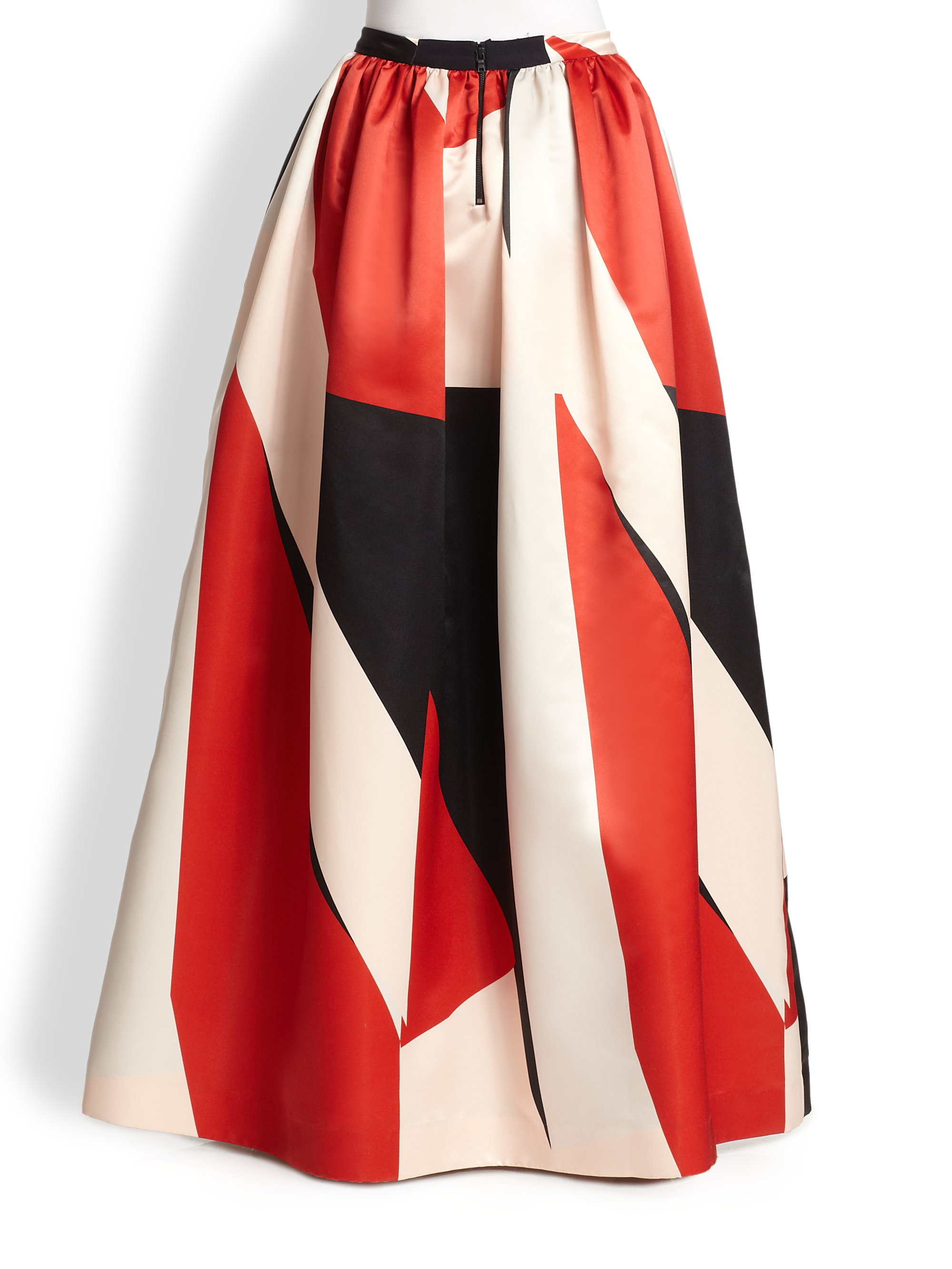 Alice   olivia Abella Long Flared Skirt in Red   Lyst