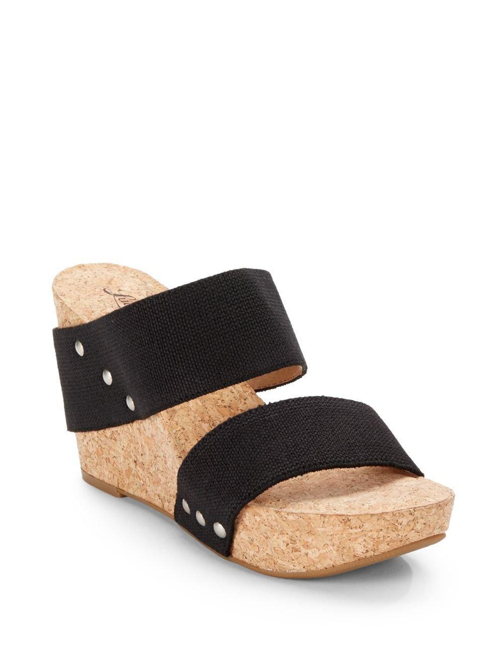 d84f5de7da1 Lucky Brand Silvertone Magnolia2 Woven Strap Cork Wedge Sandals in ...