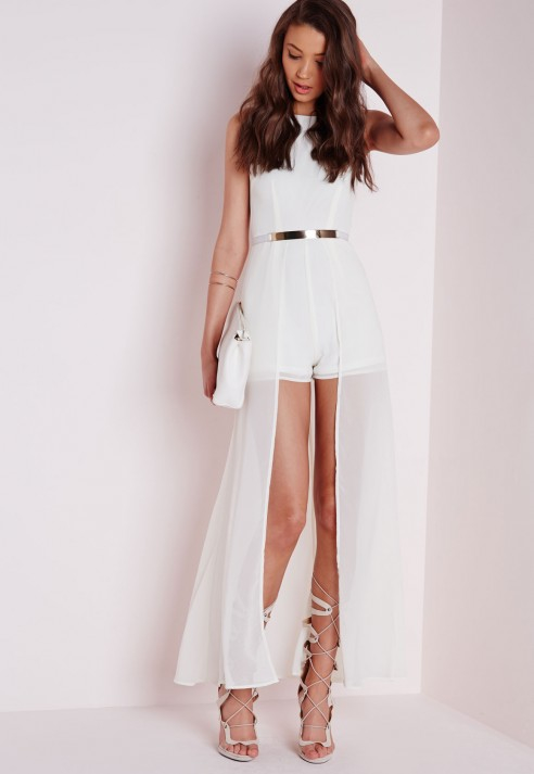 Missguided Maxi Overlay Playsuit White in White - Lyst
