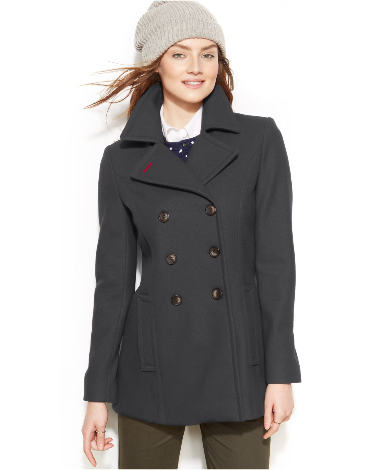 Womens Gray Pea Coat - Tradingbasis