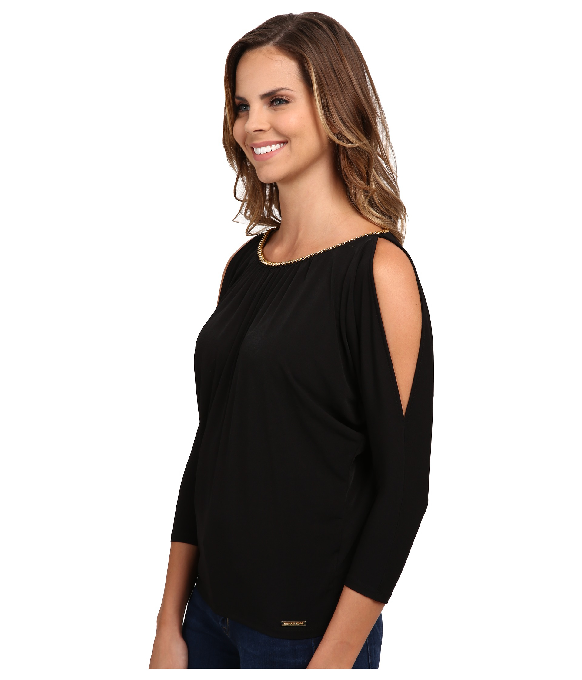 b681c08f78bae4 usa lyst michael michael kors chain neck cold shoulder top in black 026c2  45d0d