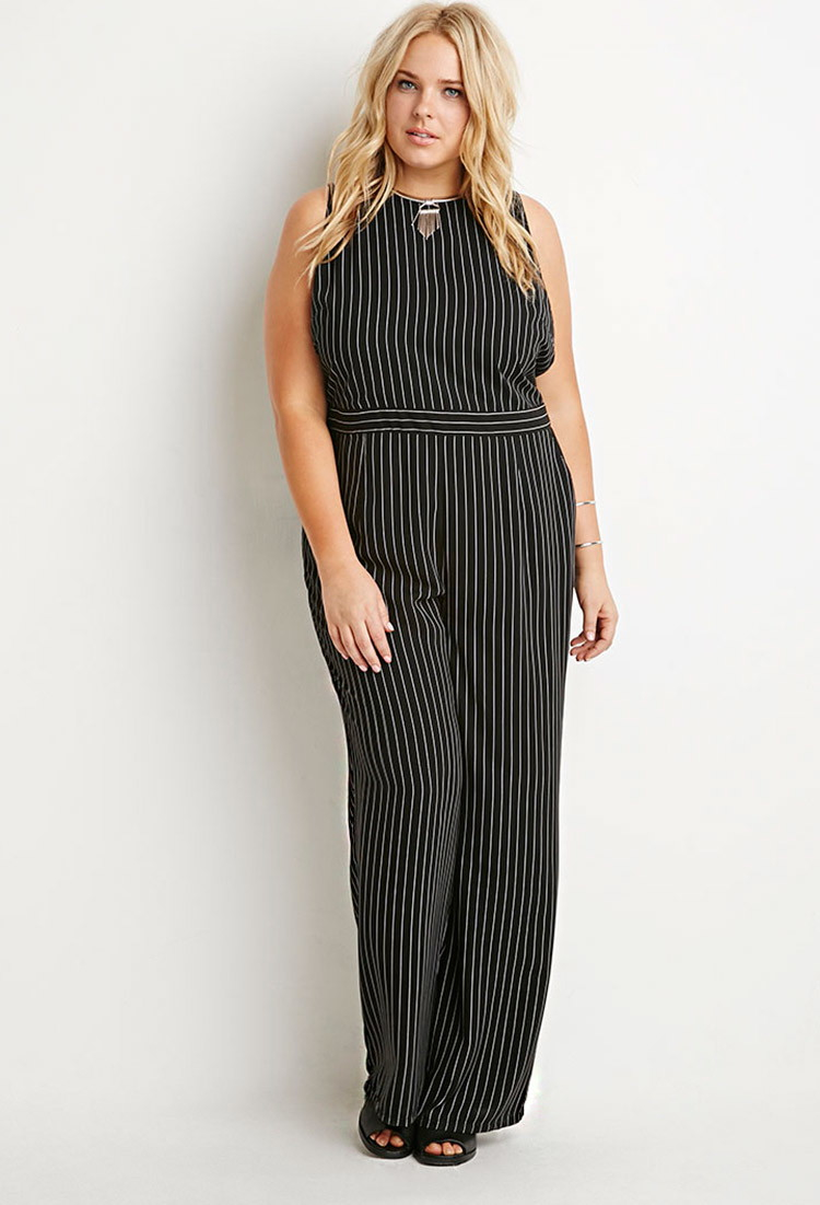Lyst Forever 21 Plus Size Pinstriped Jumpsuit In Black