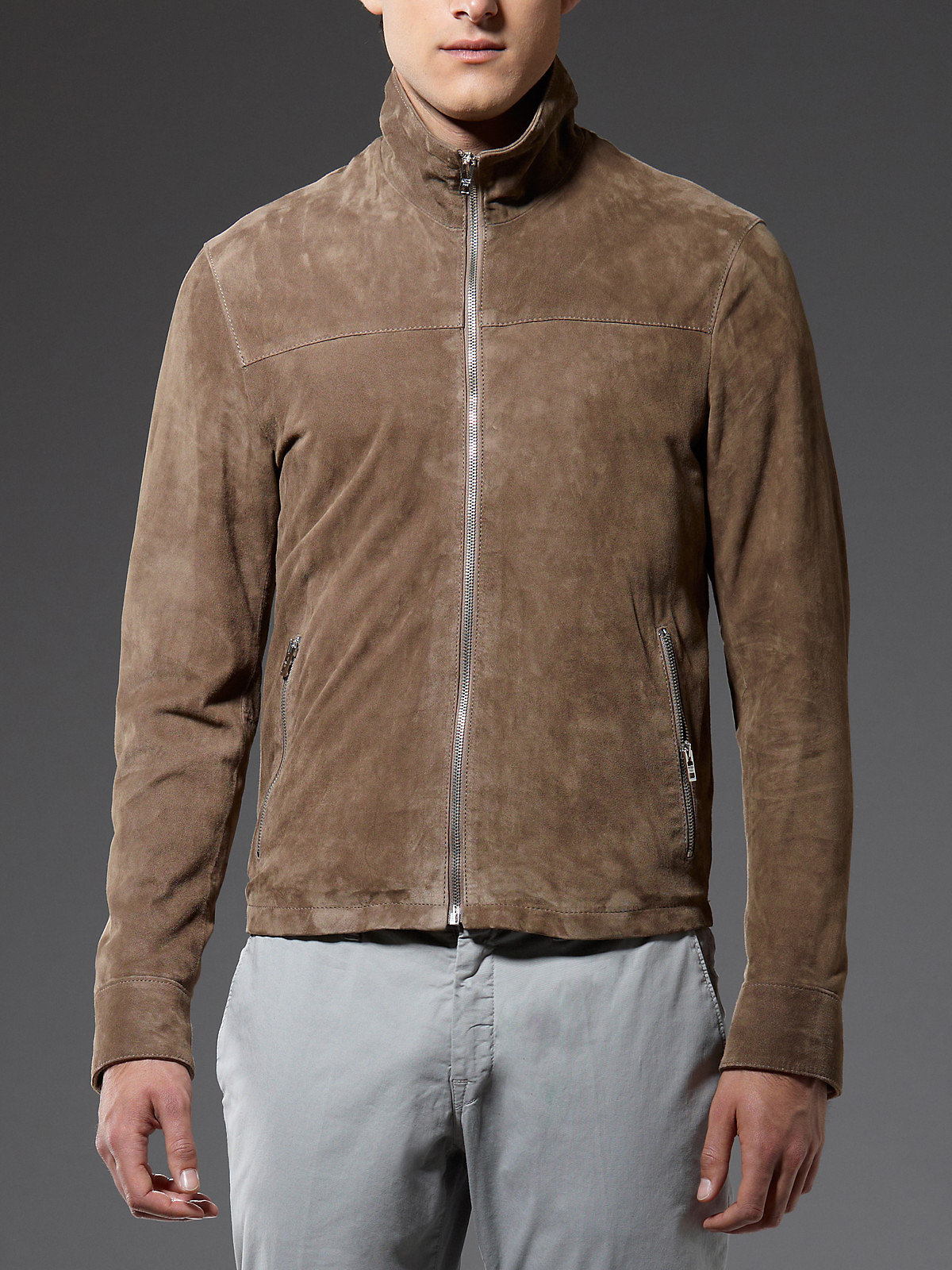 Patrizia Pepe Suede Jacket With Zip In Brown For Men Lyst