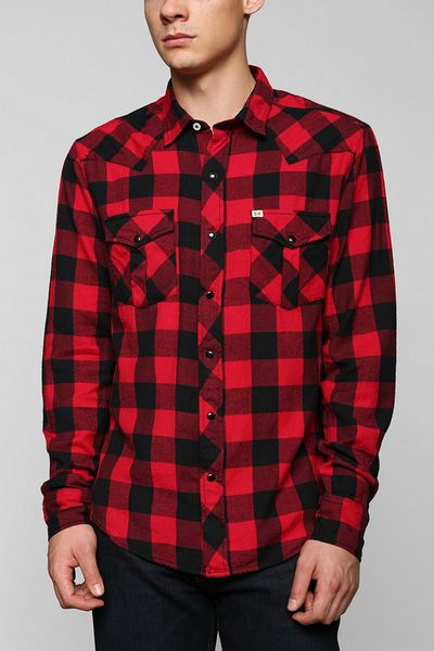 Urban outfitters salt valley buffalo plaid flannel button for Red buffalo flannel shirt