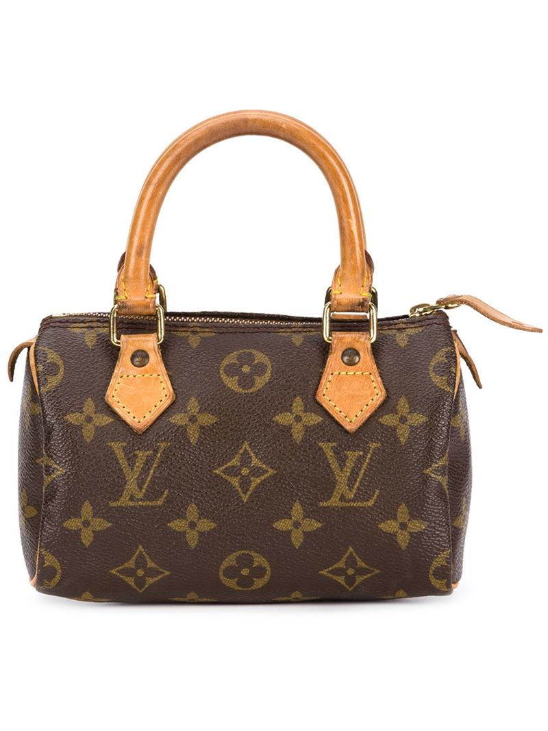 Lyst louis vuitton mini 39 speedy 39 tote in brown for Louis vuitton miroir bags