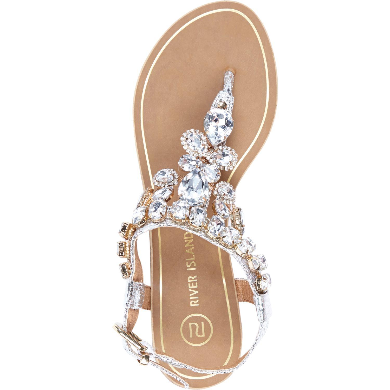 River Island Silver Gem Embellished T Bar Sandals In