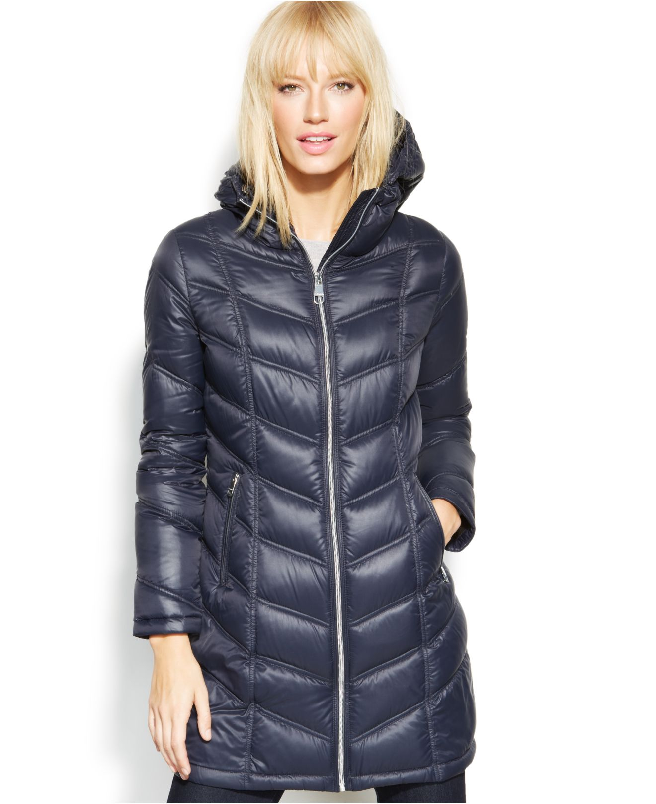 Calvin klein Petite Quilted Down Packable Puffer Coat in Blue | Lyst