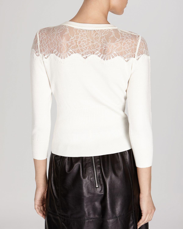 4541c639b84 Karen Millen Lace Yoke Knit Cardigan in White - Lyst