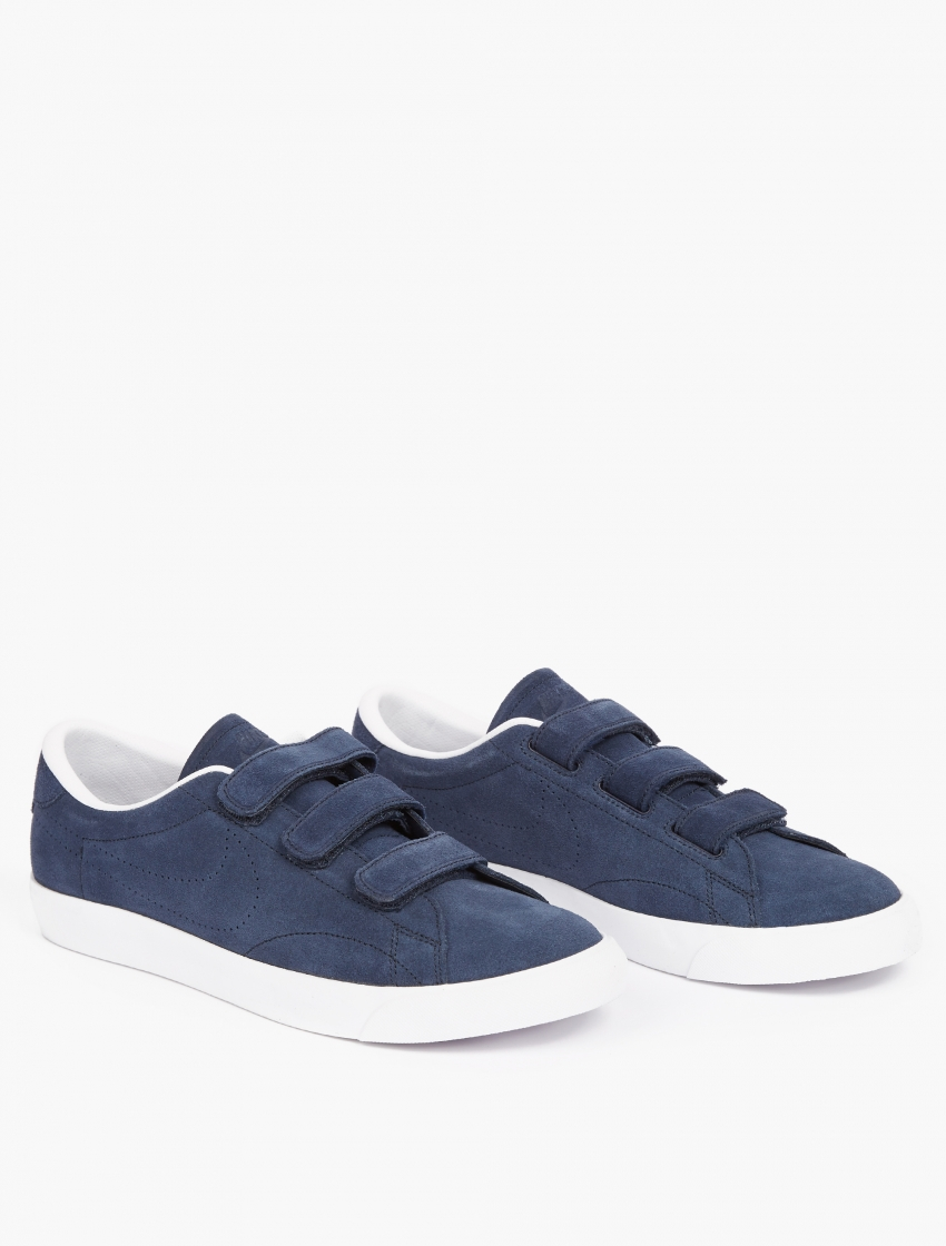nike blue suede tennis classic velcro sneakers in