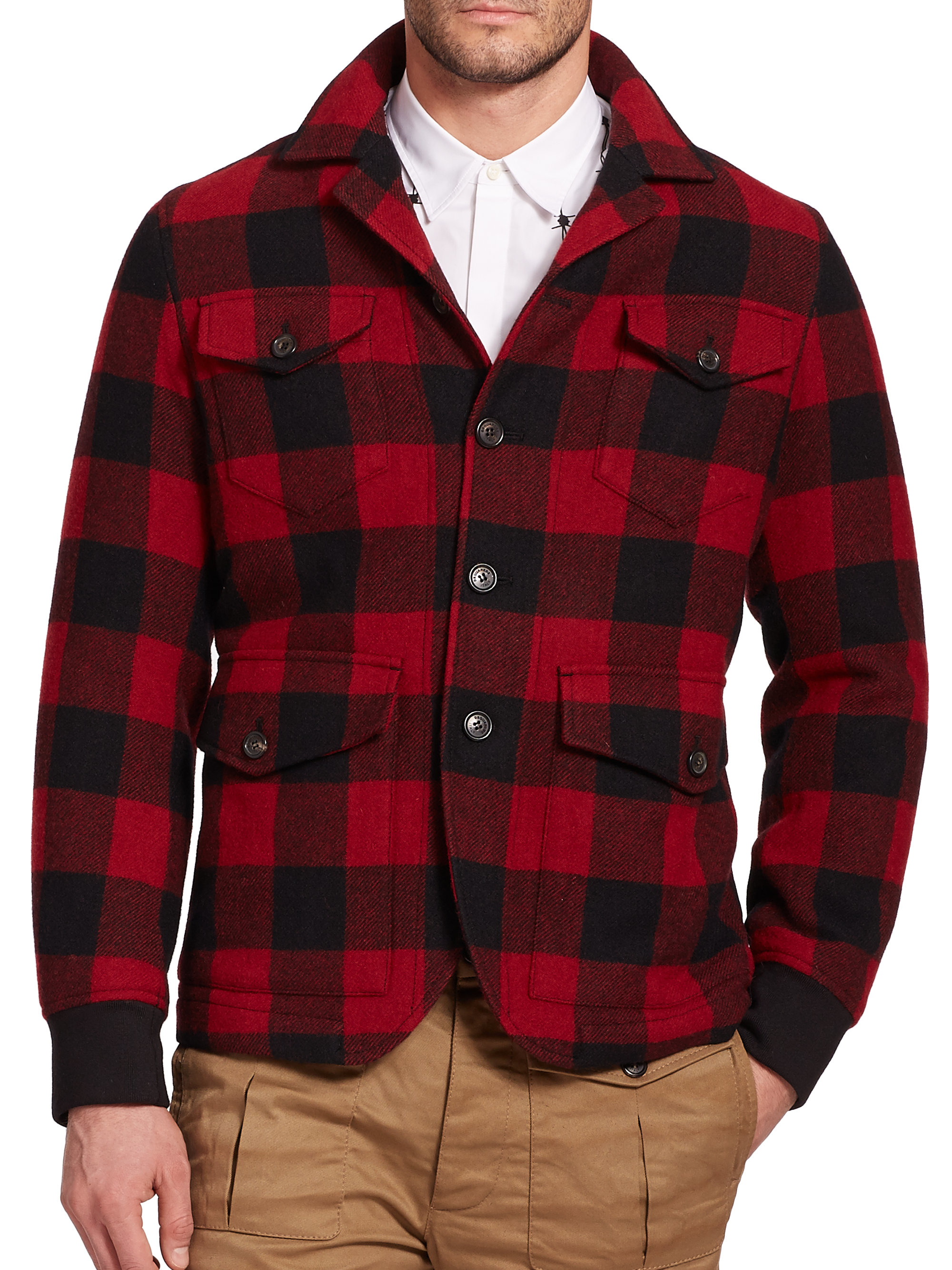Mens plaid wool coats images for Mens red wool shirt