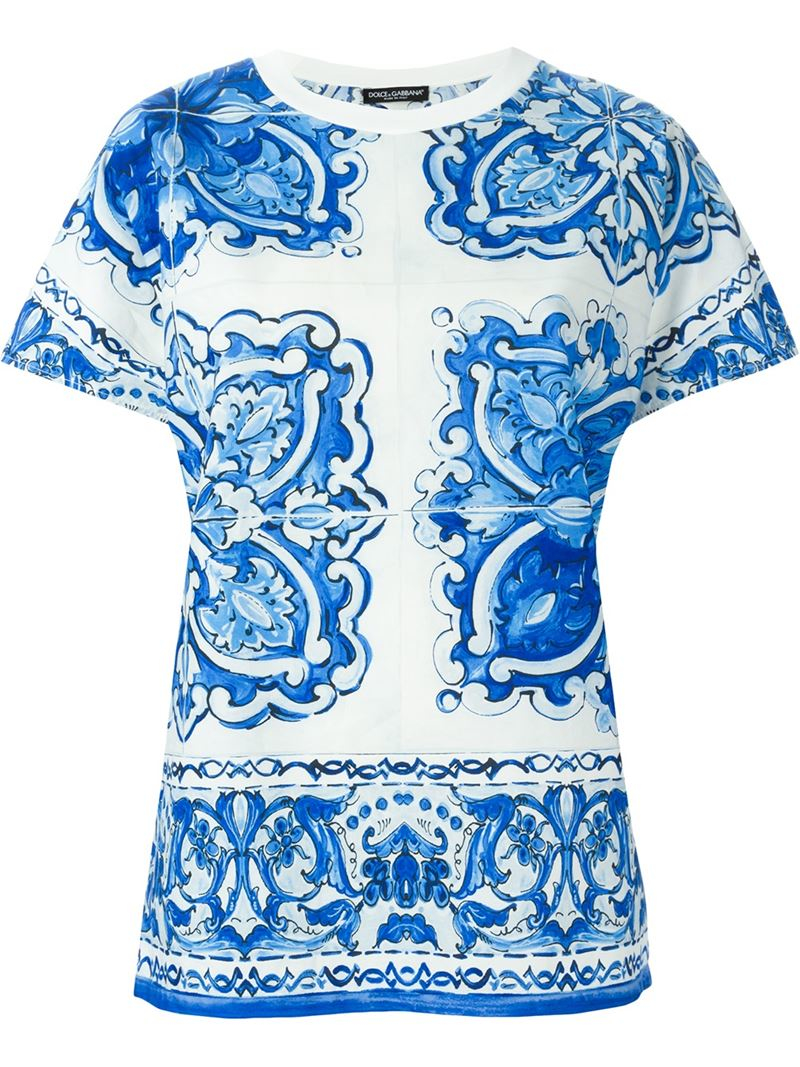 Lyst dolce gabbana majolica print t shirt in blue for Dolce and gabbana printed t shirts