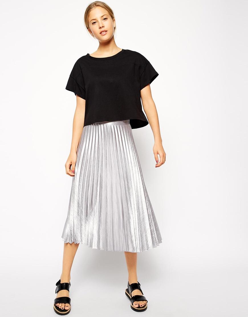 asos pleated midi skirt in metallic in metallic lyst