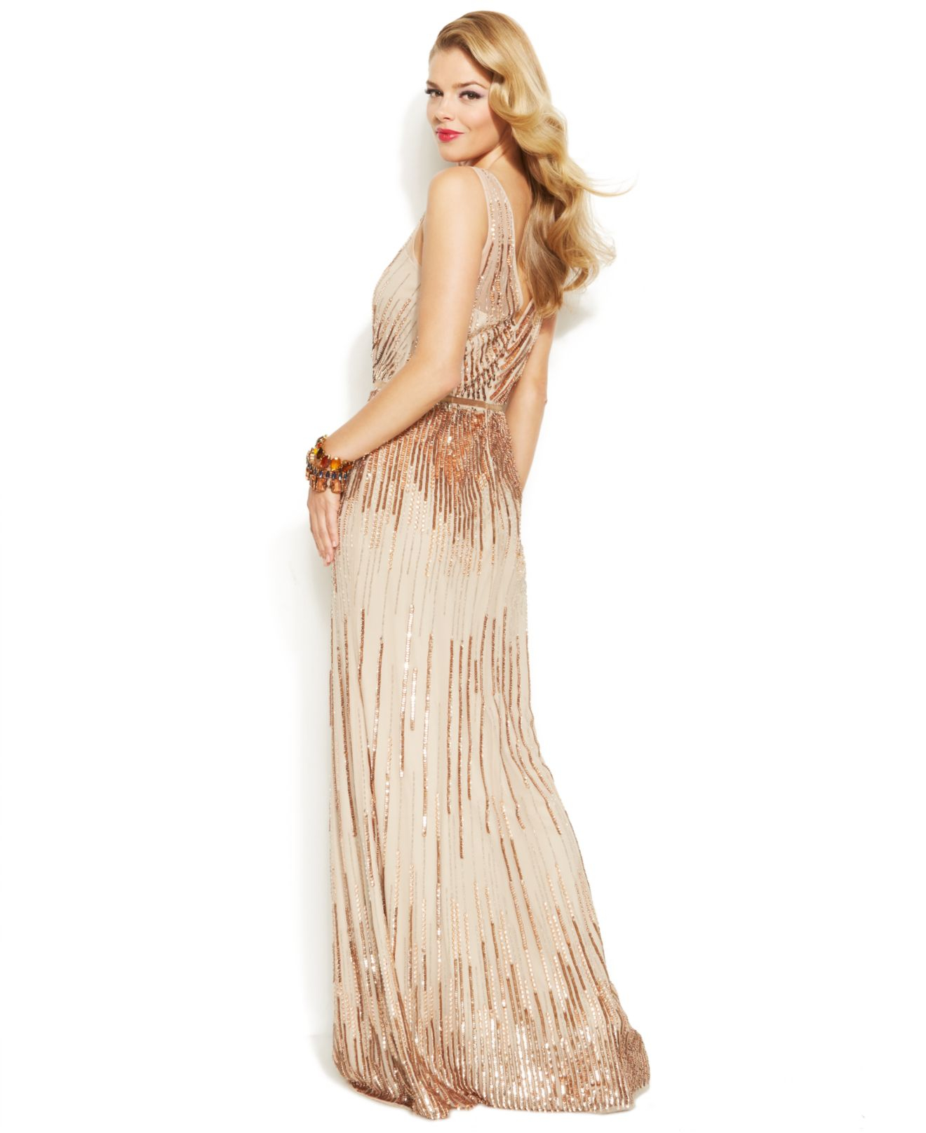 52ce1ce4160e Adrianna Papell Sleeveless Sequin Illusion Gown in Metallic - Lyst