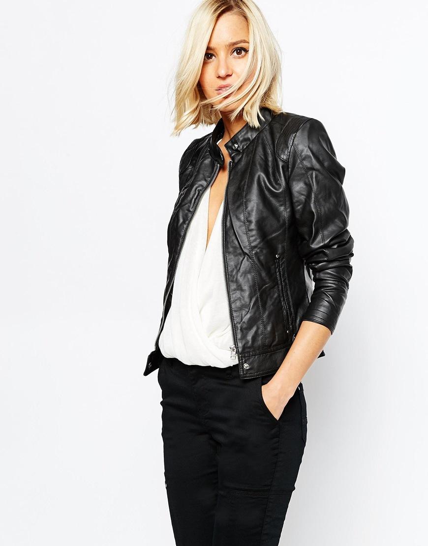 vero moda leather look biker jacket in black lyst. Black Bedroom Furniture Sets. Home Design Ideas