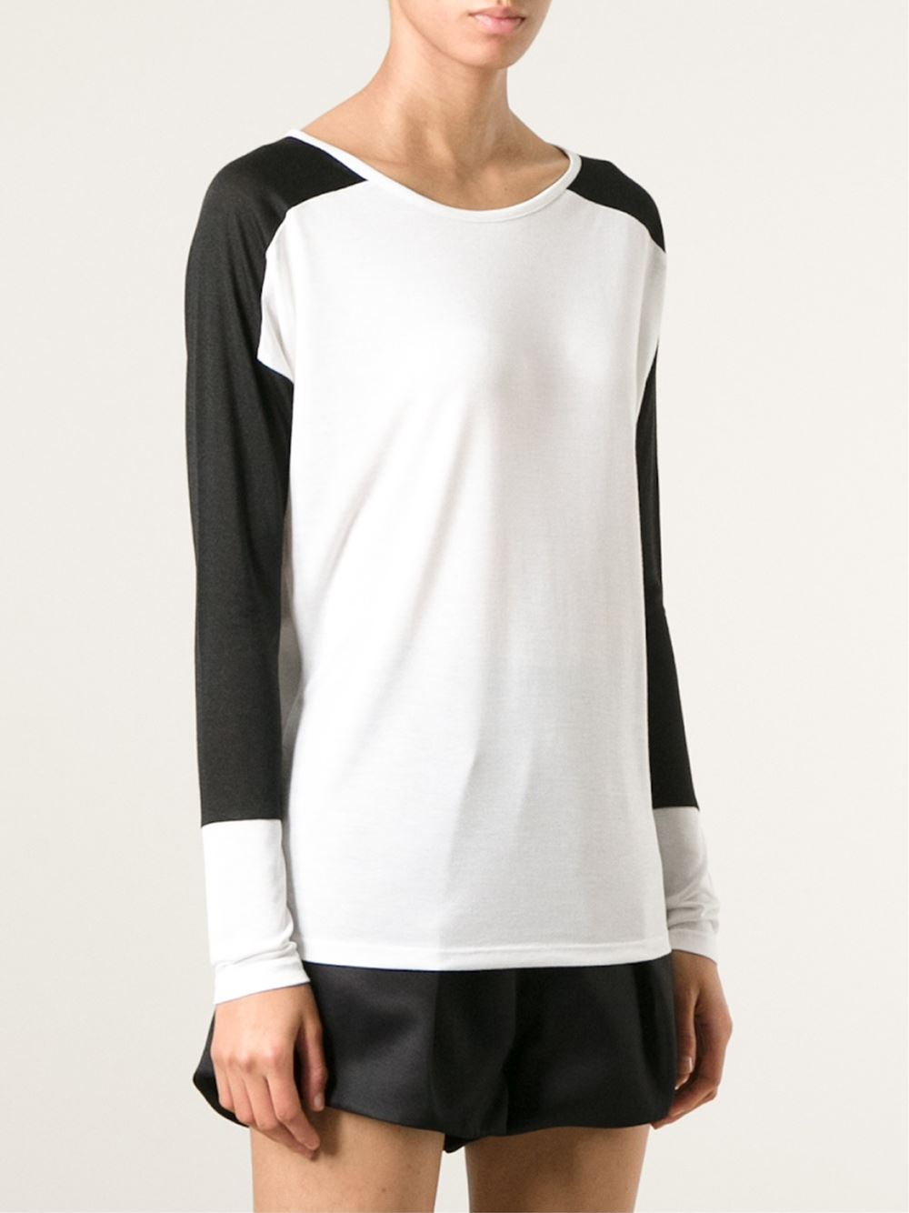 vince black contrasting long sleeves t shirt lyst