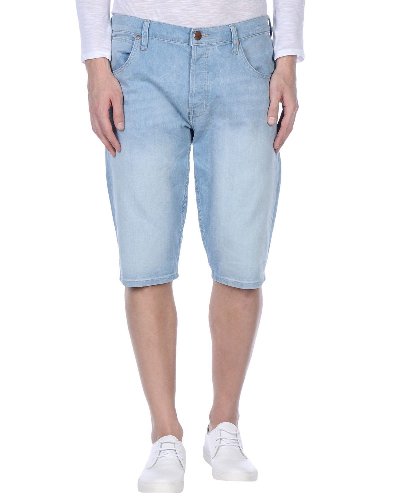 Wrangler denim bermudas in blue for men lyst for Wrangler denim shirts uk