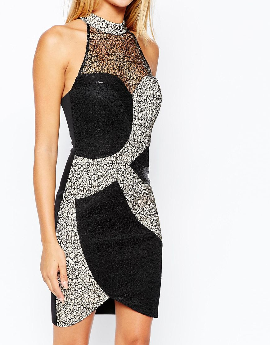 Lipsy Michelle Keegan Loves High Neck Bodycon Dress With Metallic Lace Detail in Black | Lyst
