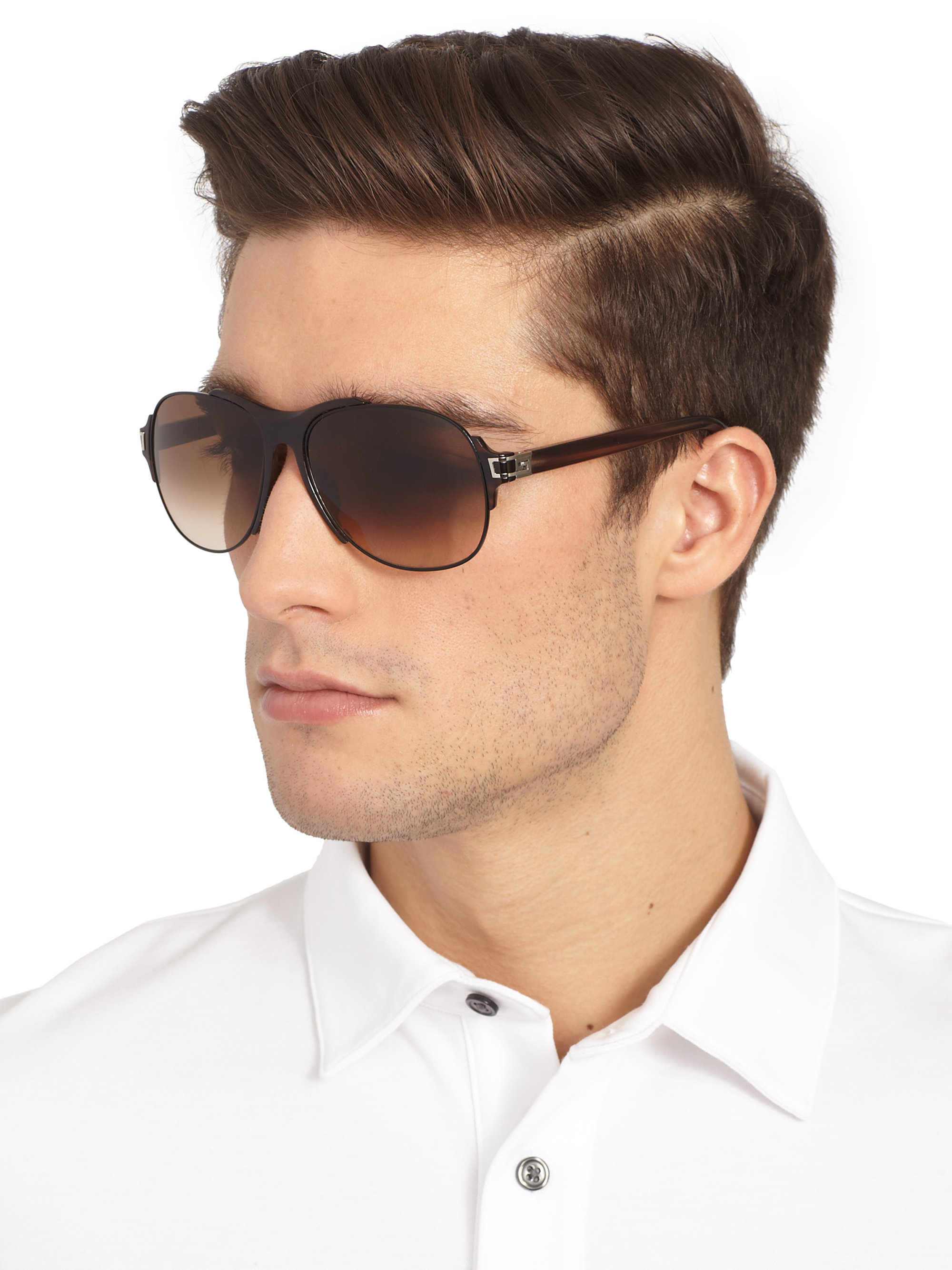 bdce57d407d Lyst - Givenchy Metal And Resin Aviator Sunglasses in Brown for Men