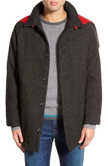 Woolrich 'mill' Water Resistant Herringbone Wool Blend Car Coat ...