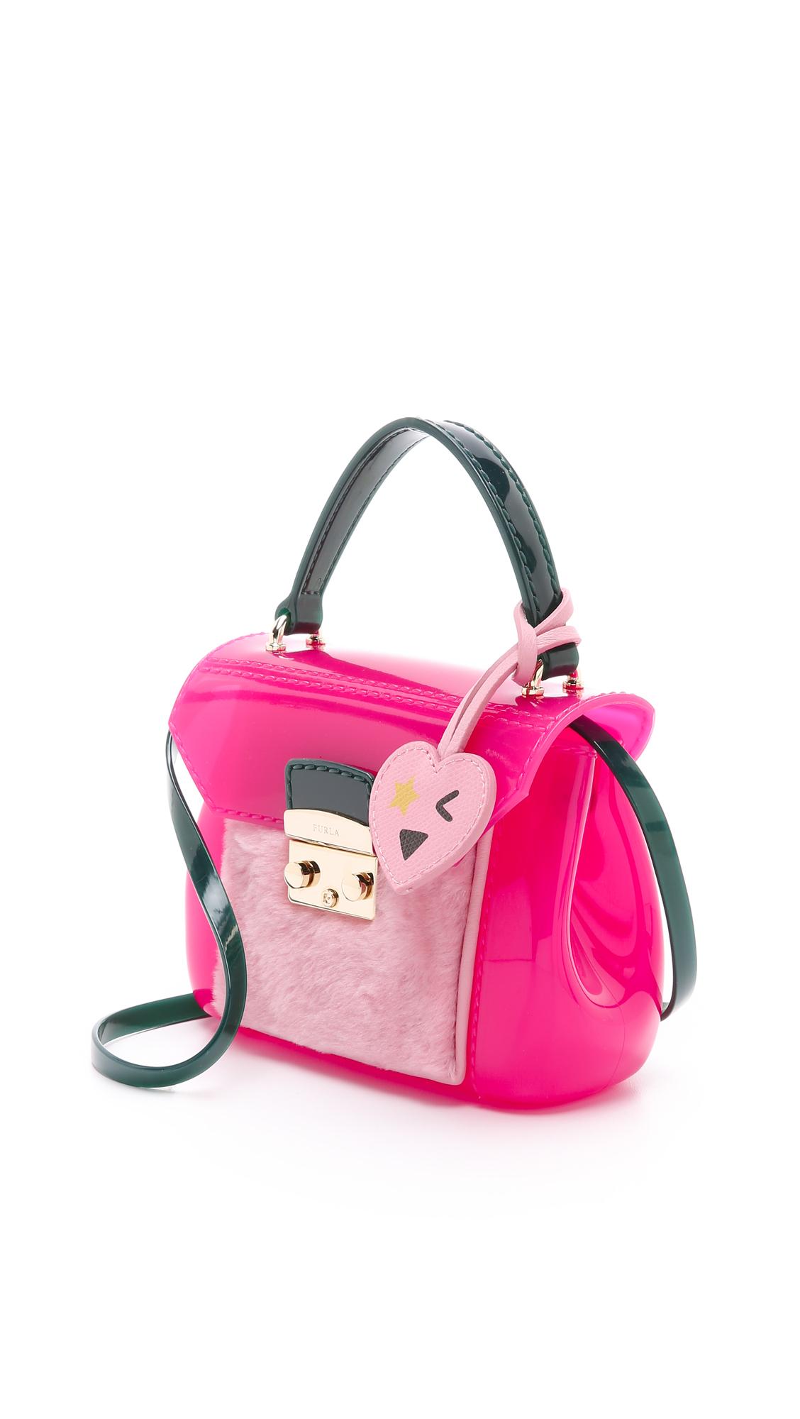 furla shearling bon bon mini bag in pink lyst