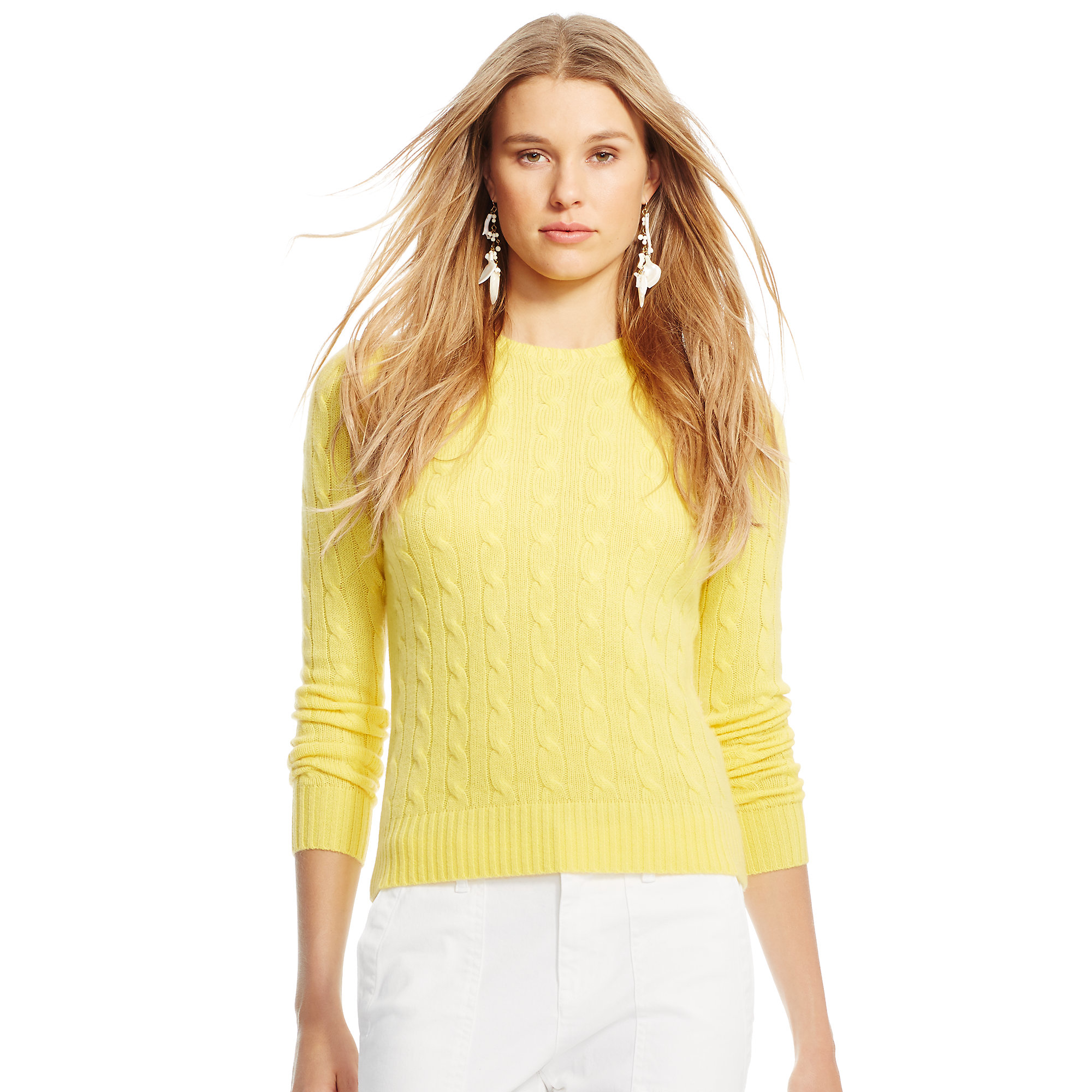 Polo ralph lauren Slim Cable Cashmere Sweater in Yellow | Lyst