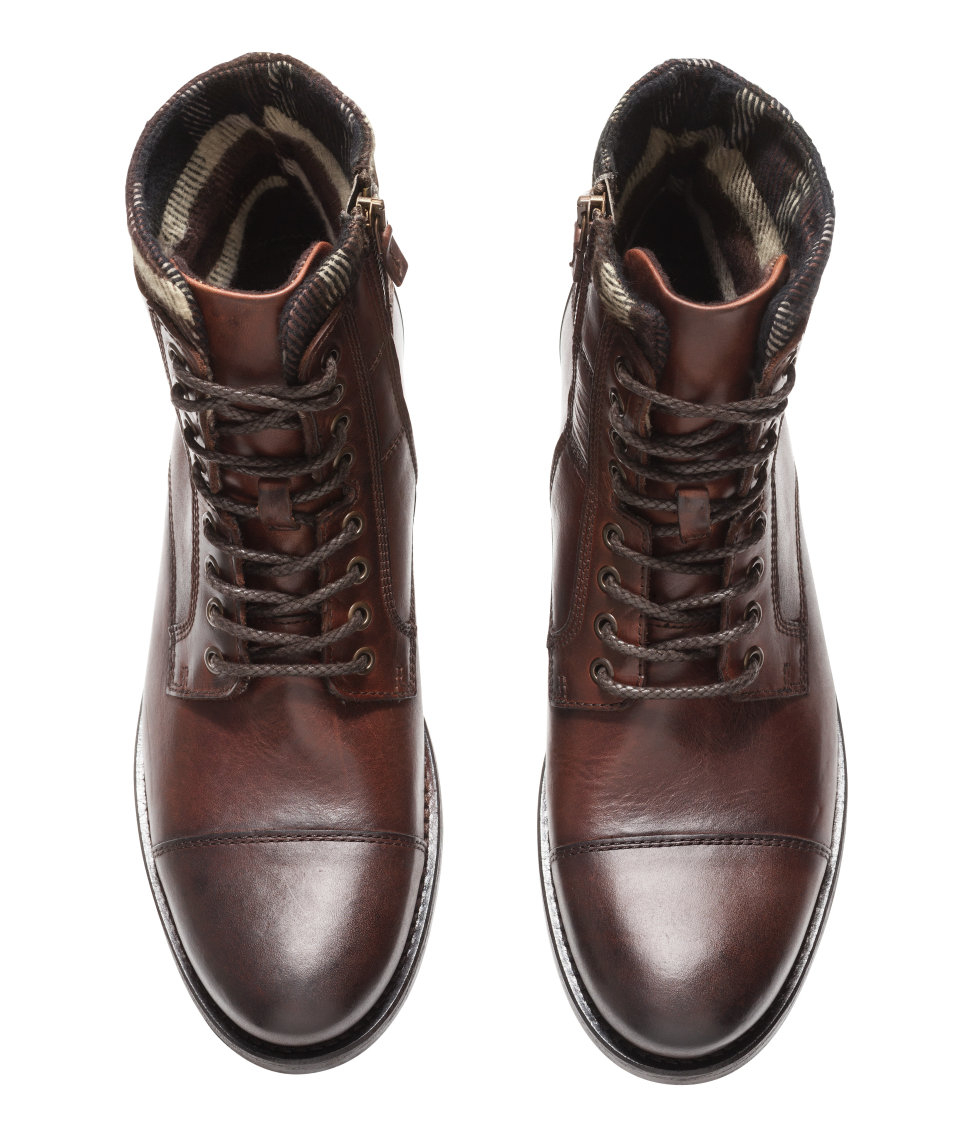 h m leather boots in brown for lyst