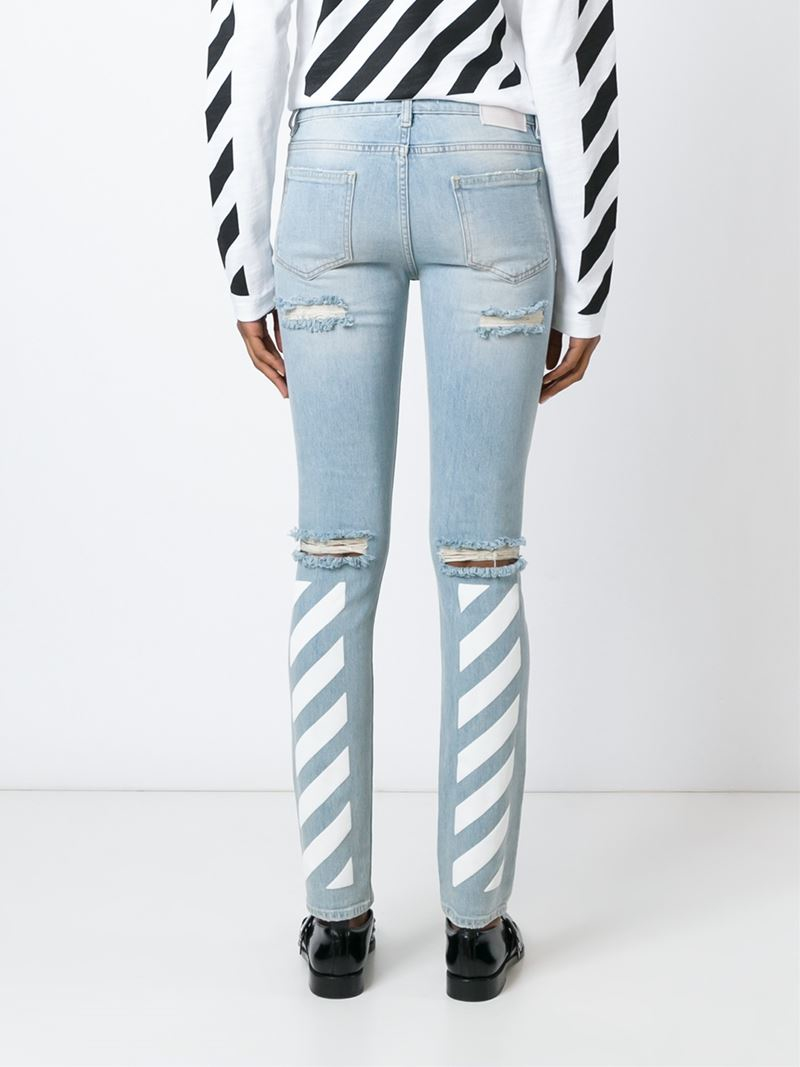 Off-white c/o virgil abloh Distressed Skinny Jeans in Blue | Lyst