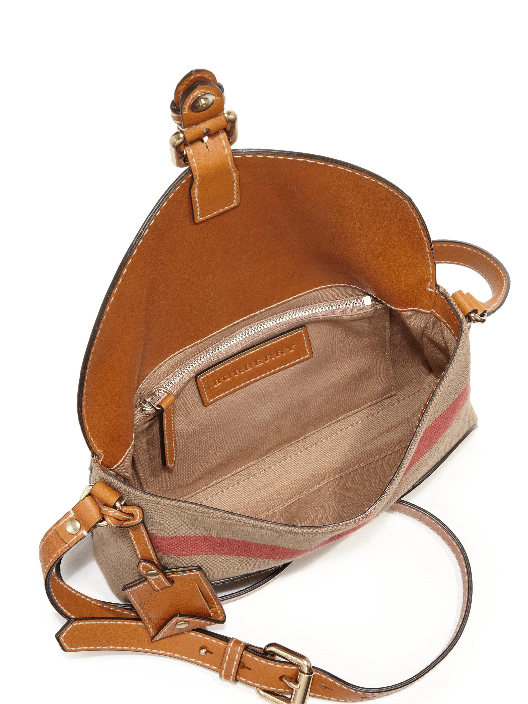 e01228831 Burberry Small Leather & Canvas Check Henham Crossbody Bag in Brown ...