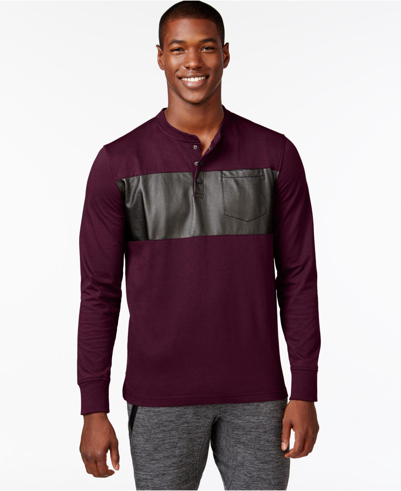 Sean john men 39 s coated panel t shirt in purple for men for Sean john t shirts for mens