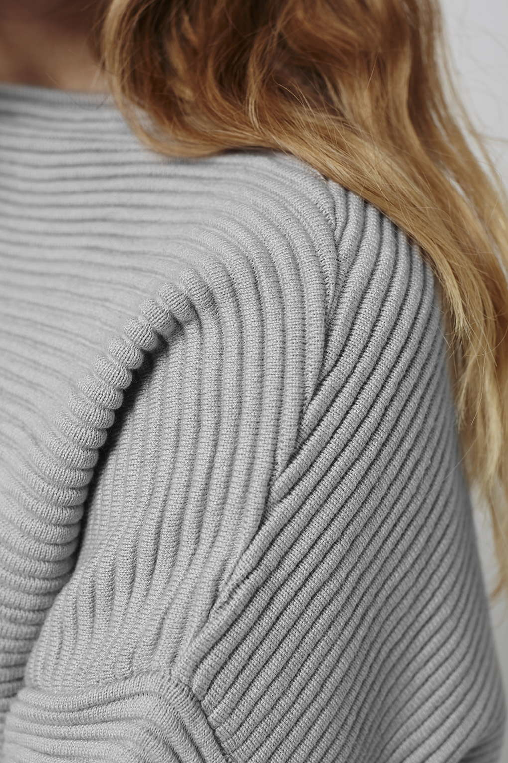 Topshop Horizontal Ribbed Sweatshirt in Gray | Lyst
