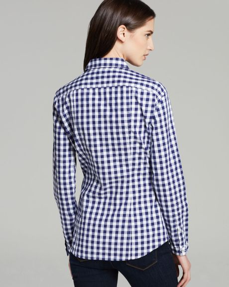Burberry Brit Gingham Button Down Shirt In Blue Lapis