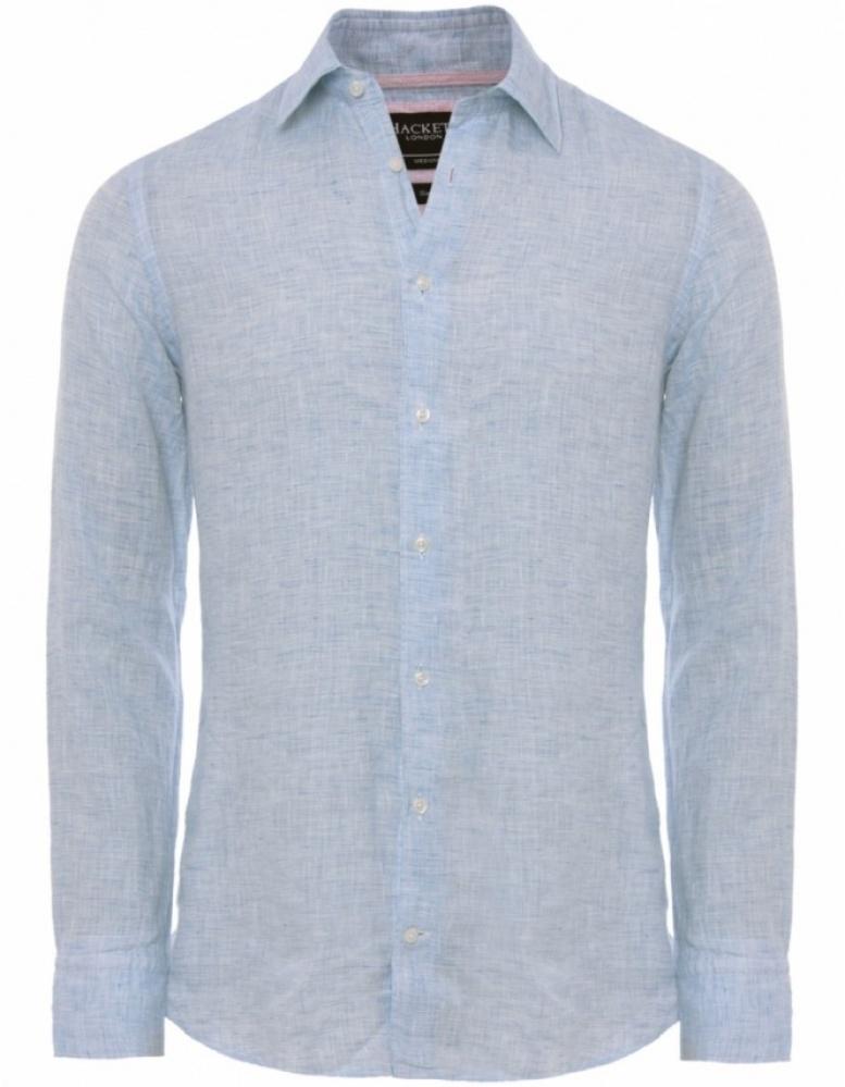 11222369f24b Lyst - Hackett Slim Fit Linen Shirt in Blue for Men