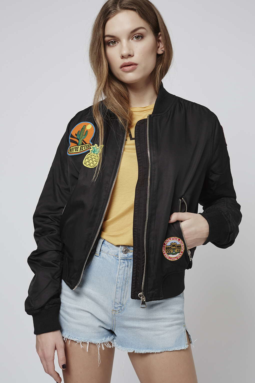Topshop Badged Ma1 Bomber Jacket in Black | Lyst