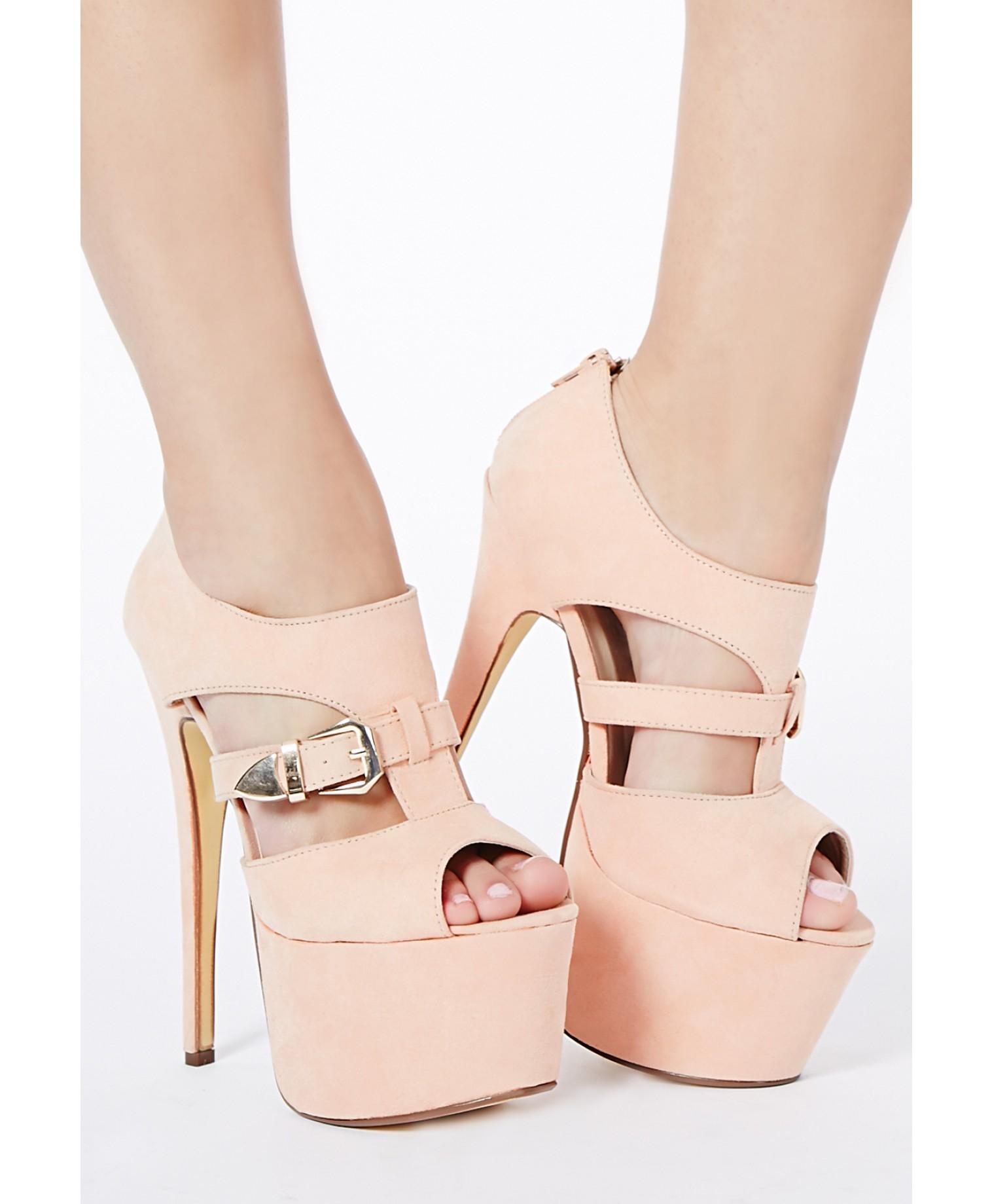 61033590a4d9ec Lyst - Missguided Connie Blush Peep Toe Platform Heels in Pink