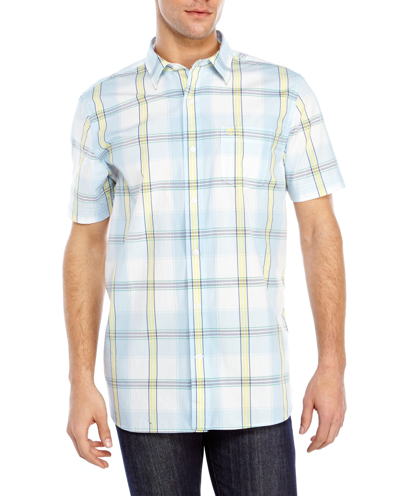 Timberland short sleeve plaid sport shirt in blue for men Short sleeve plaid shirts