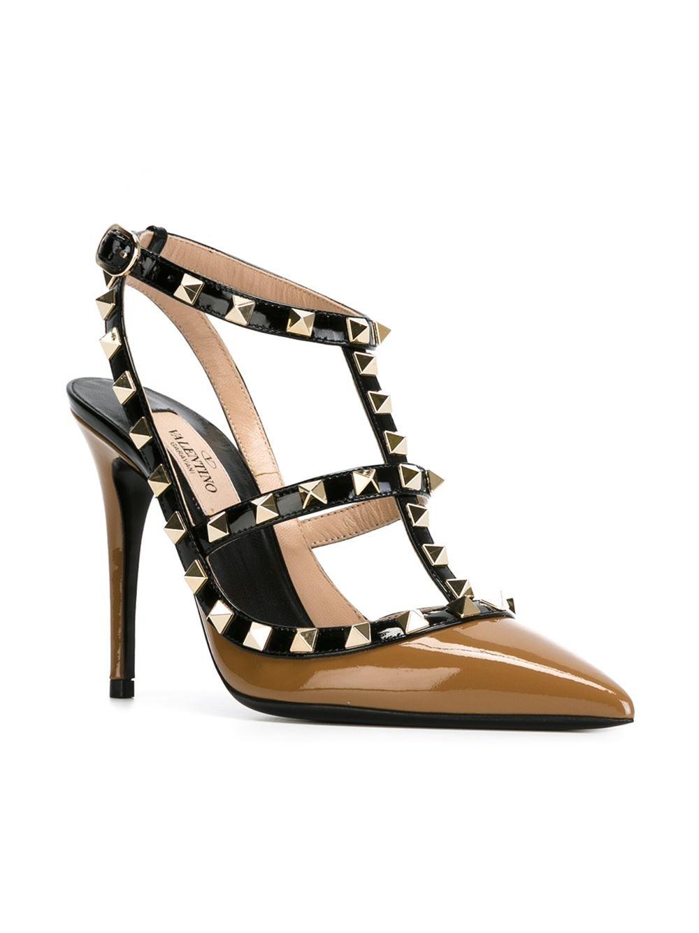 valentino 39 rockstud 39 pumps in black brown lyst. Black Bedroom Furniture Sets. Home Design Ideas