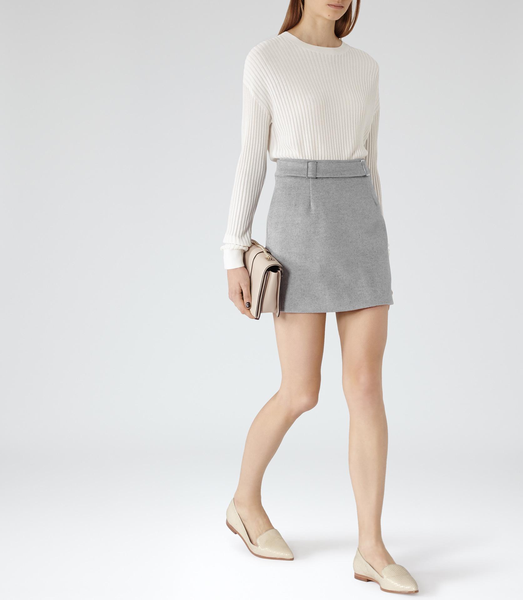 Reiss Tokyo A-line Wool Mini Skirt in Gray | Lyst
