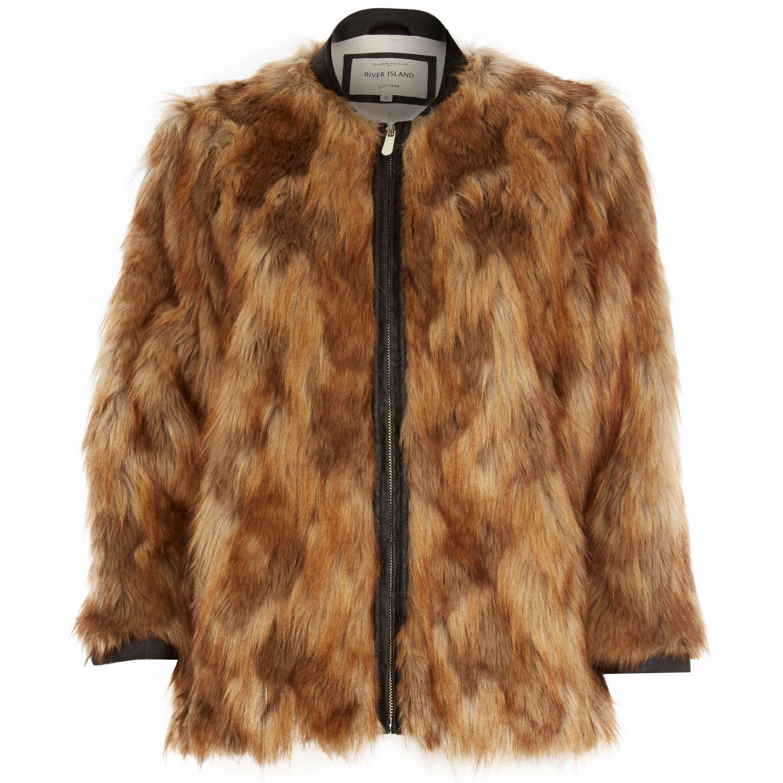Lyst River Island Brown Faux Fur Jacket In Brown