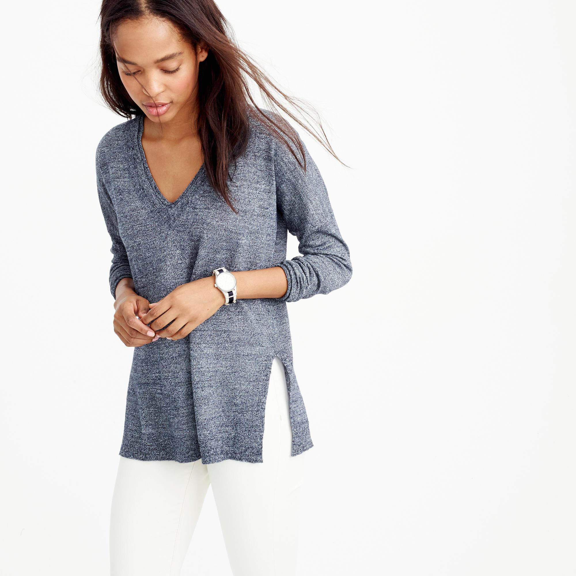Lyst - J.Crew Merino-linen V-neck Sweater in Gray a545067e58