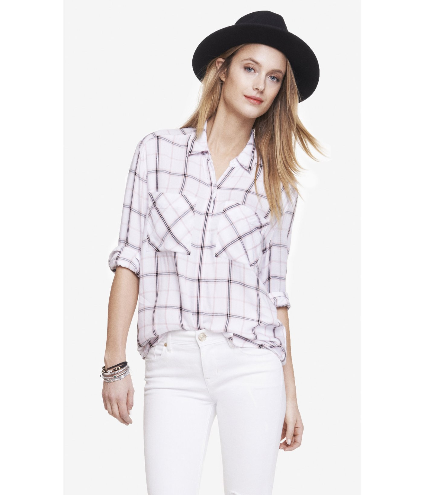 Lyst express pink and white oversized plaid shirt in pink for Oversized plaid shirt womens