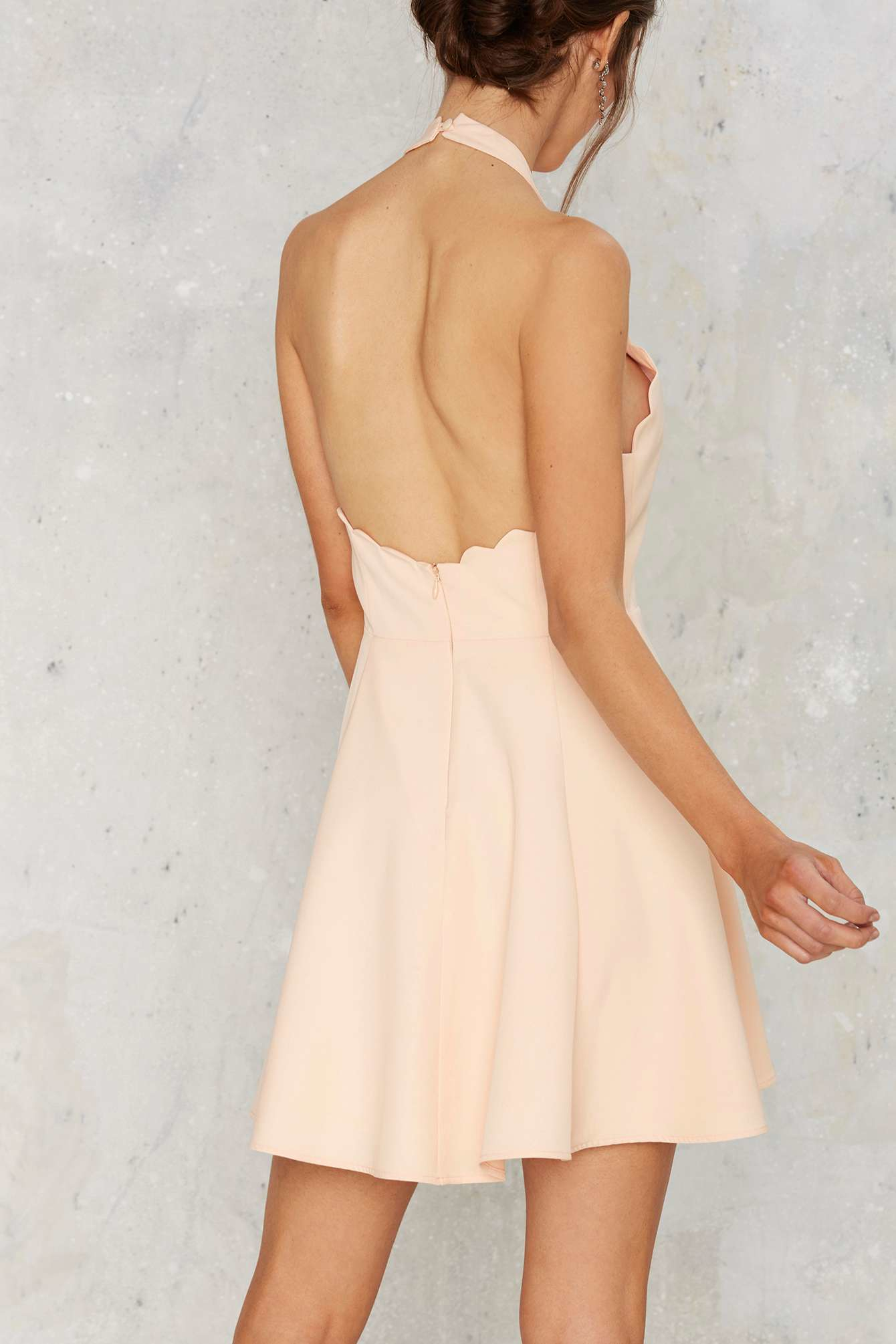 5a980c1a641 Lyst - Nasty Gal Full Scallop Attack Flare Dress - Peach in Pink
