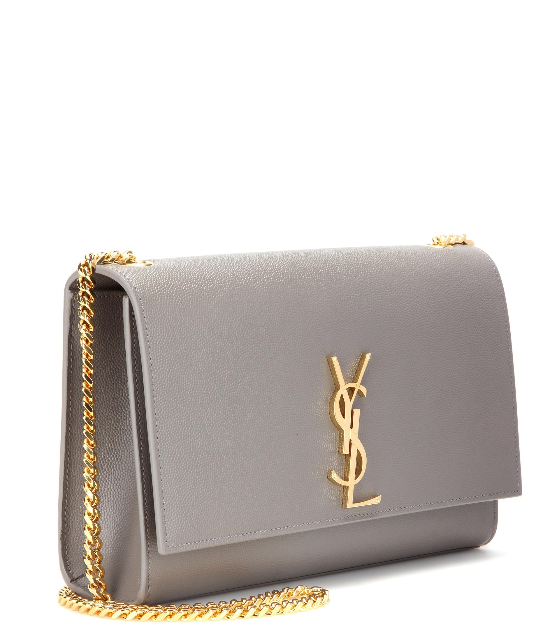 8608f5d12950 Lyst - Saint Laurent Classic Monogram Leather Shoulder Bag in Gray