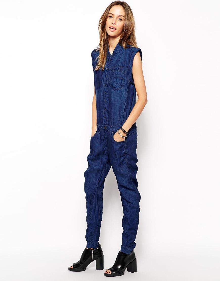 07c5bca6a393 Lyst - G-Star RAW Riley 3D Denim Jumpsuit in Blue