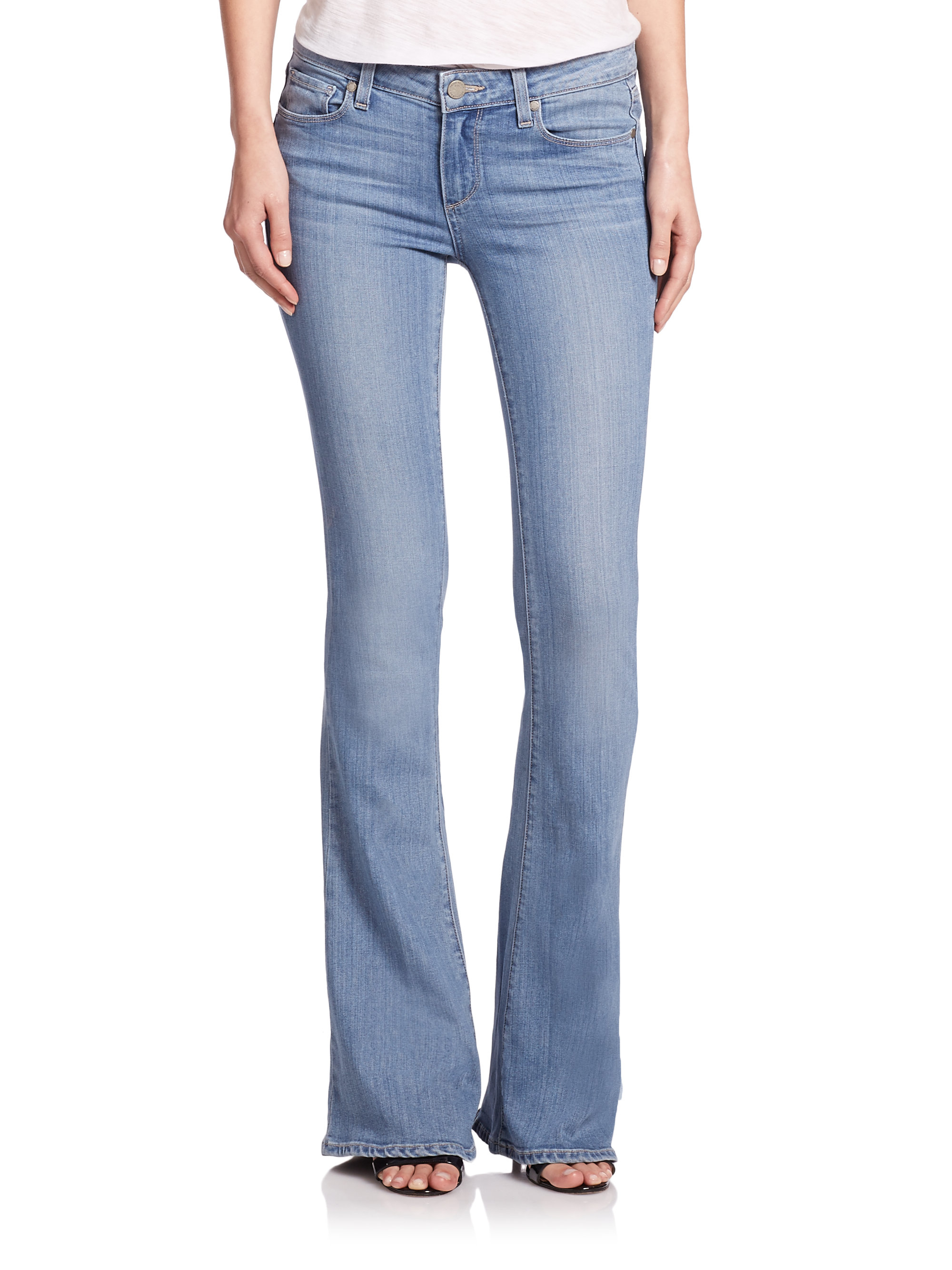 Paige Lou Lou Mid-rise Flared Jeans in Blue | Lyst