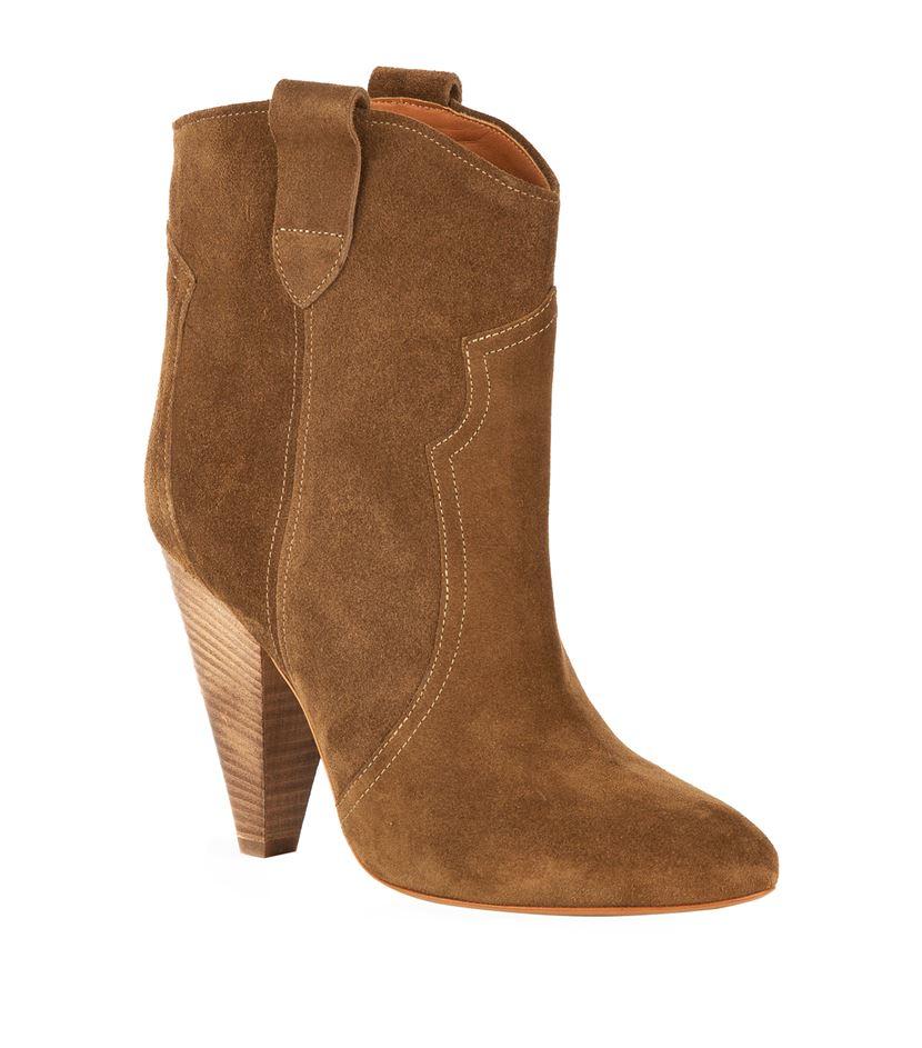 isabel marant roxann suede ankle boot in brown lyst. Black Bedroom Furniture Sets. Home Design Ideas