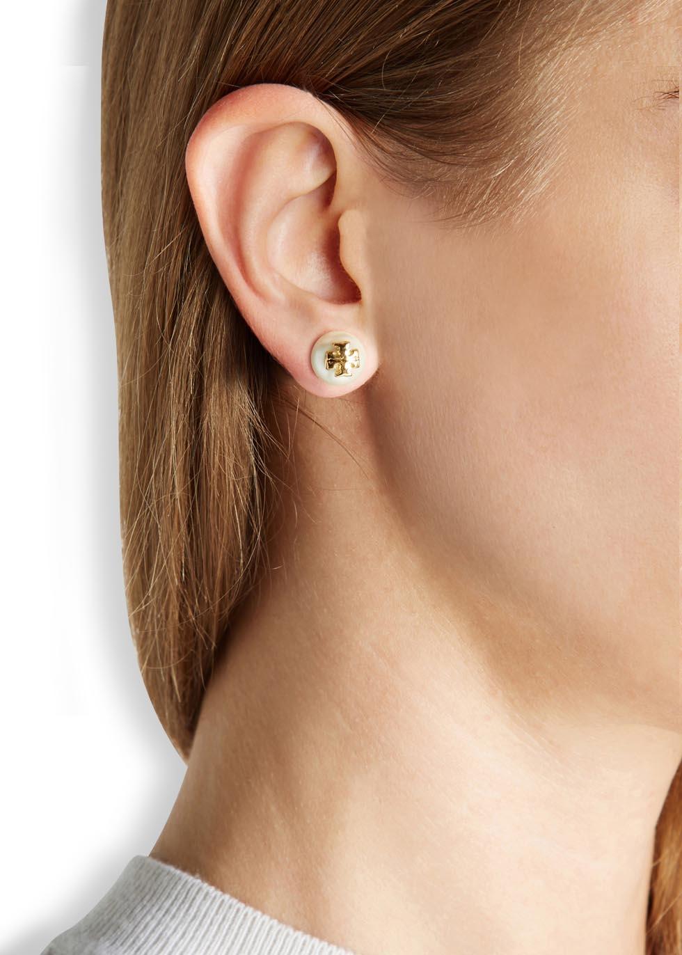 Tory Burch Pearly Logo Stud Earrings 8Igj6Uw