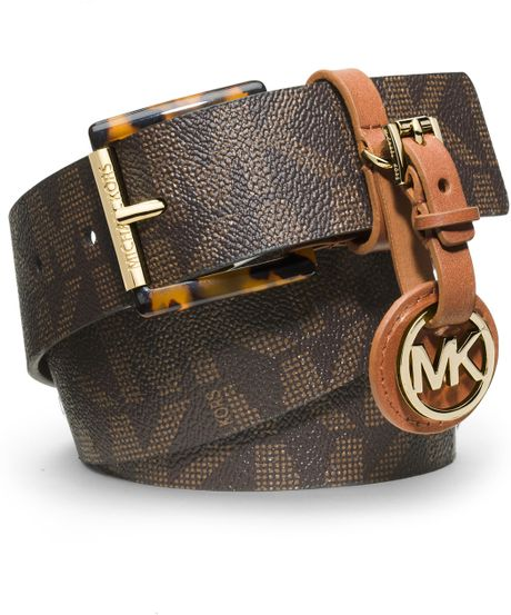 michael kors michael logo belt with medallion in brown lyst