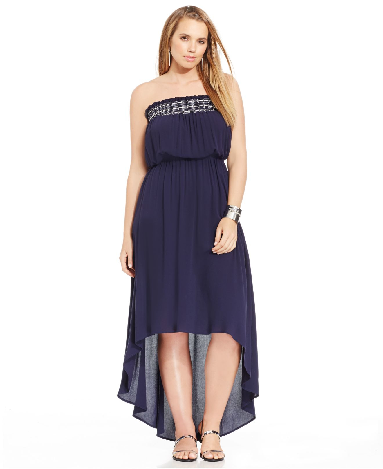 Lyst Soprano Plus Size Strapless High Low Maxi Dress In Blue