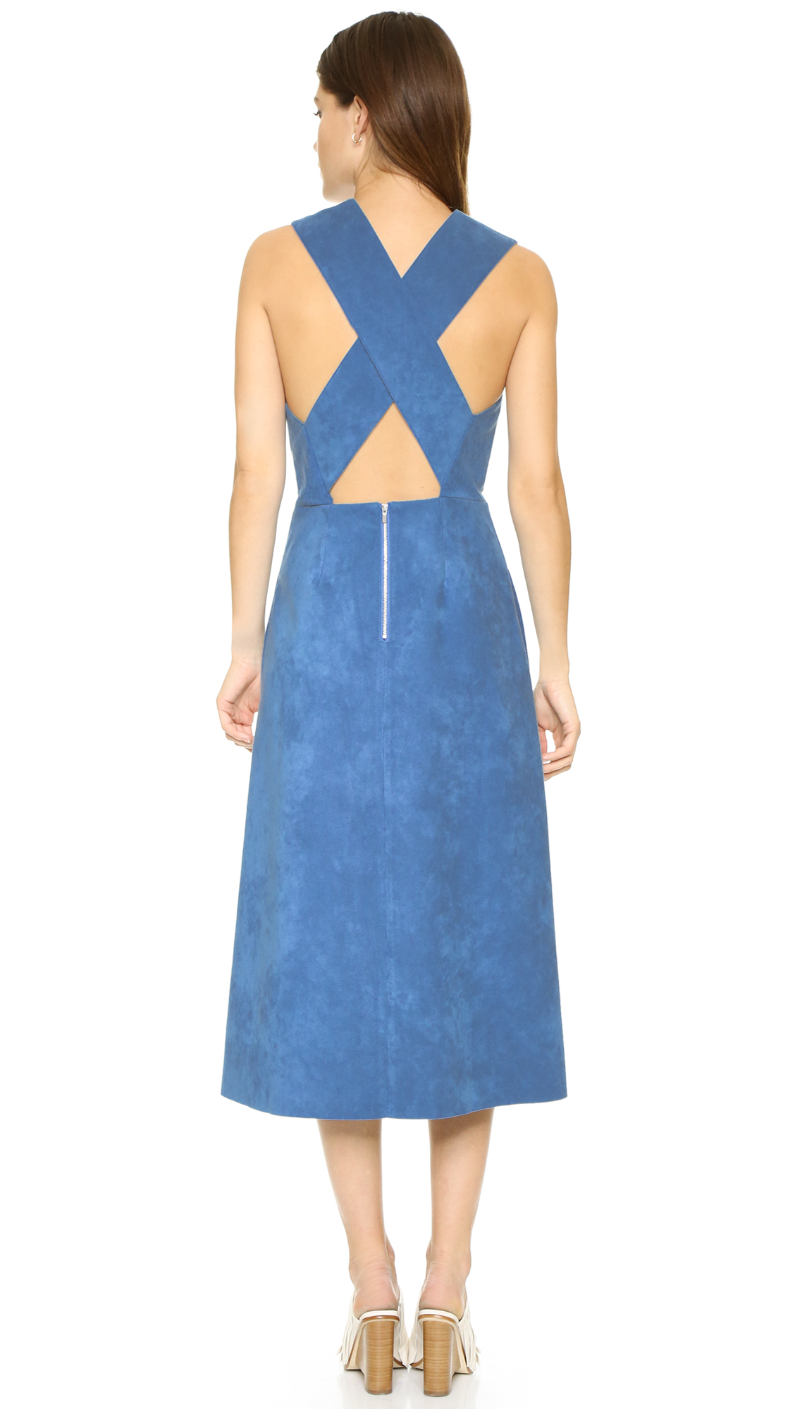 Tibi Faux Suede Overall Dress in Blue | Lyst
